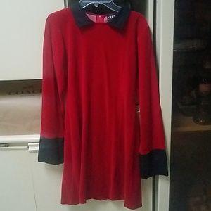 KillStar red velvet with black collar & cuff dress